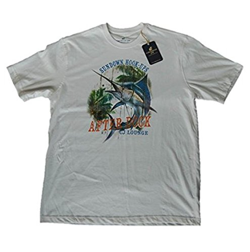 Caribbean Joe Men's Sundown Hook-Ups Blue Marlin Fishing T-Shirt, XL, White Hook Ups Shirts