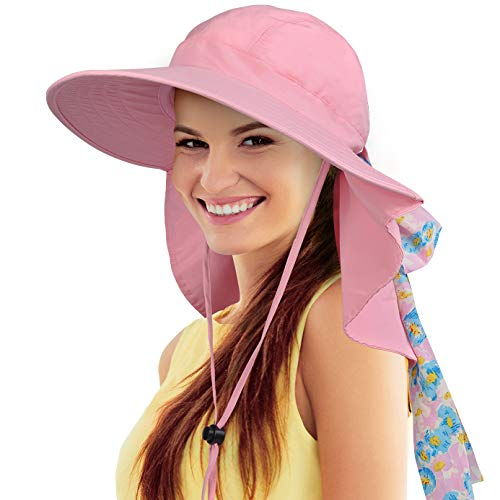Tirrinia Women Large Brim Adjustable UPF 50+ Sun Hat Safari with Floral Ribbon for Beach Hiking Camping Fishing Gardening Pink