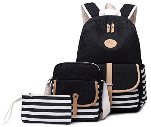 Canvas Students Backpack Casual School Bookbag for Teens Girls Boys (Black-3pcs 93)