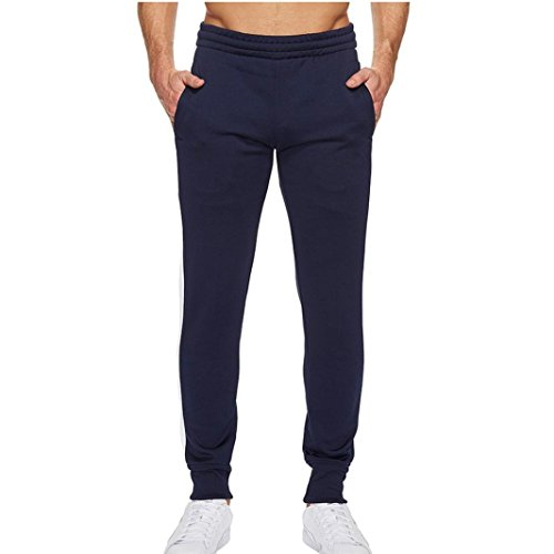 Mens Hip Hop Premium Slim Fit Track Pants - Athletic Jogger Bottom with Side Taping (Navy, M) by HTHJSCO