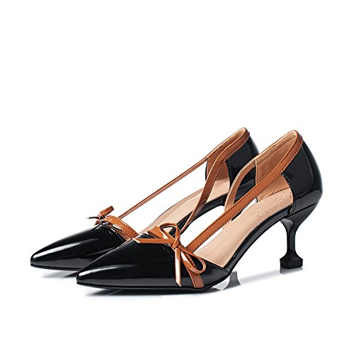 Zapatos De Verano Negro Tacón Elevan Solo Zapatos Zapatos Mujer Se 6 Transpirable Tacón Y Y Pajarita La GAOLIM Punta Y Mujer De 8Cm Primavera De Zapatos Resistente Luz De Desgaste Al 0X5wTq