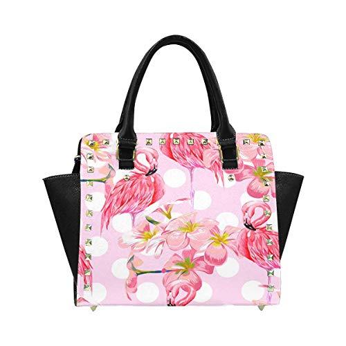 InterestPrint Women's Pink Flamingos Tropical Flowers Polka Dot Zip Tote Shoulder Handbag Hobo Crossbody Bag