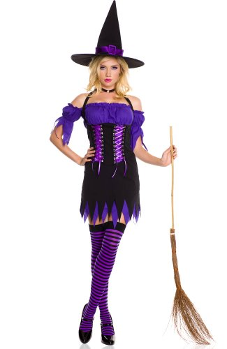 3 PC. Halter Witch Dress Set - X-Large - Black/Purple
