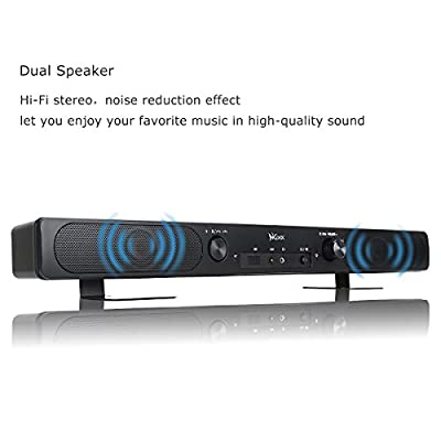 Mini Sound Bar, Haissky Wireless Bluetooth Speakers, Audio 2.0 Channel Soundbar for TV / Flat TV / Tablet / PC, AUX Line-in, Built-in Microphone, Hands-free for iPhone iPad Samsung Smartphones - Black