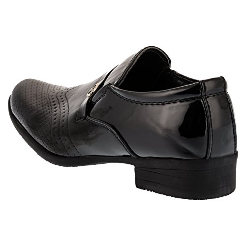 Festlicher Jungen Slipper in Schwarz, Innen Leder #87sw Schwarz