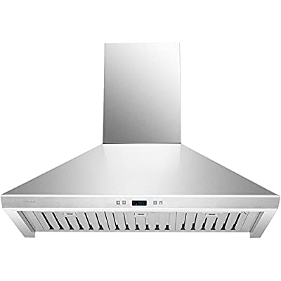 "DKB 36"" Inch Range Hood Kitchen Vent In Brushed Stainless Steel With 600 CFM And Ductless Option"