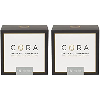 Cora Organic Cotton Tampons with Applicator (36 Count; Regular)