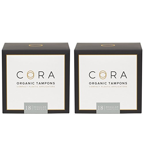 Cora Organic Cotton Tampons with Applicator (36 Count; Regular) (100% Cotton Tampons)