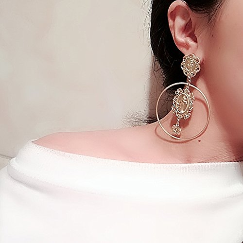 Baroque matte gold earrings retro fashion necklace pendant Mississippi human head earrings ring picture metal earrings