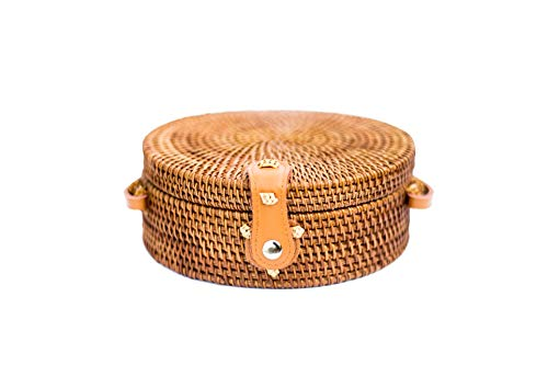 Honey Rattan (Hand-Woven Women's Crossbody Straw Bag: Honey Brown with Real Leather)