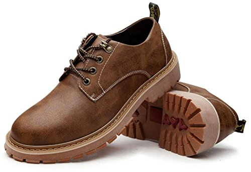 LEDLFIE Chaussures en Cuir Véritable pour Hommes Chaussures en Cuir Décontracté Joker Lacets Chaussures pour Hommes Kaki bGXTDjo