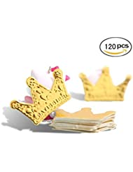 120 Pcs Gold Glitter Crown Card Cake Cupcake Toppers Birthday Wedding Party Picks Baby Bridal Shower Decoration Card