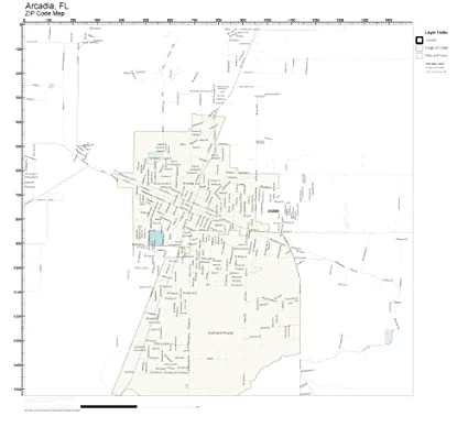 Arcadia Florida Map.Amazon Com Zip Code Wall Map Of Arcadia Fl Zip Code Map Not