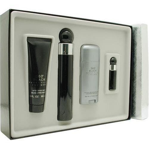 Perry Ellis 360 Black By Perry Ellis For Men. Set-edt Spray 3.4 OZ & Aftershave Balm 3 OZ & Deodorant Stick 2.75 OZ &  Eau De Toilette Spray .25 OZ Mini