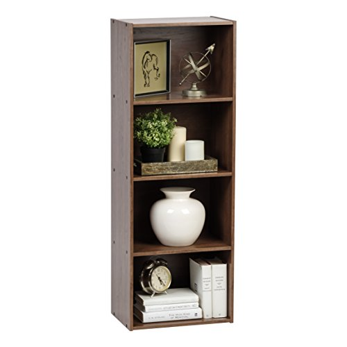 IRIS USA 596321 4-Tier Wood Storage Shelf, Dark Brown
