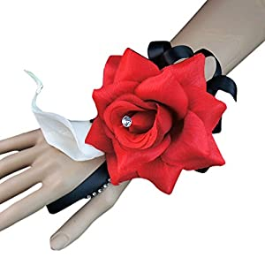 Angel Isabella Build Your Wedding Package-Artificial Flower Bouquet Corsage Boutonniere Rose Calla Lily Red White Black Wedding Theme (Wrist Corsage) 62