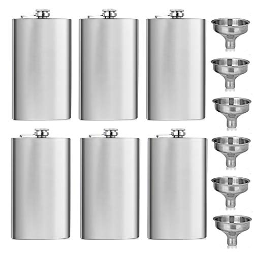 GENNISSY 6PCS 18/8 Stainless Steel 12OZ Hip Flask Silver - Flasks for Liquor with Funnel (10 Best Tequila Brands)