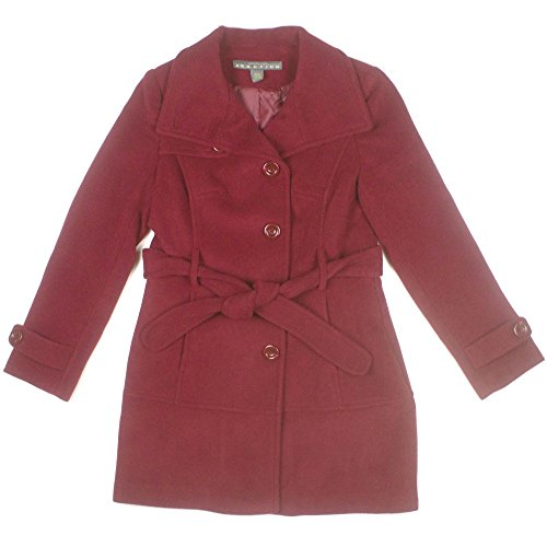 Kenneth Cole Reaction Womens Belted Wool Pea Coat Medium Ruby - Belt Ruby Belted