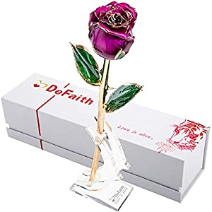 DEFAITH Real Rose 24K Gold Dipped, Forever Gifts for Her Valentines Day Anniversary Wedding and Proposal, Attractive Luster and Natural Shape - Purple with Moon Stand 4
