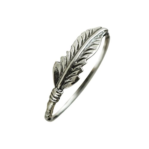 Lethez Feather Band Ring New Creative Engagement Wedding Jewelry (Silver, - Romantic Ring Stackable Flower