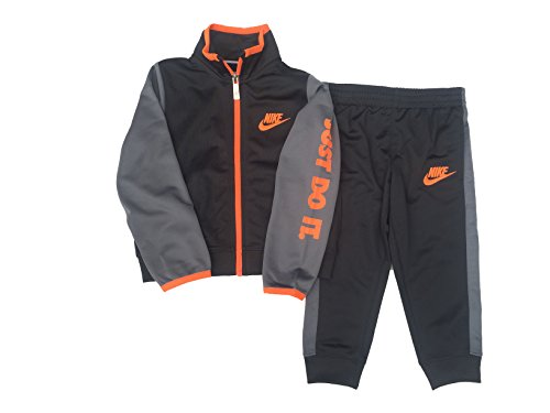 NIKE Boy's Futura Tricot Jacket and Pants Set (Anthracite(76C626-693)/Max Orange, 2T) by NIKE