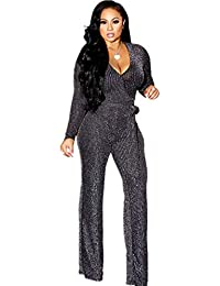 Sparkly Jumpsuits for Women Elegant Plus Size Sexy Casual Party Long Sleeve Women Rompers Pants Clubwear with Belt