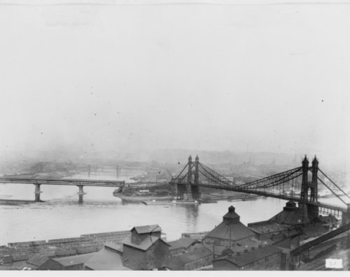 1885 photo The Point, Pittsburgh, showing Union and Manchester bridges graphi d8 (Manchester Restaurant Stock)