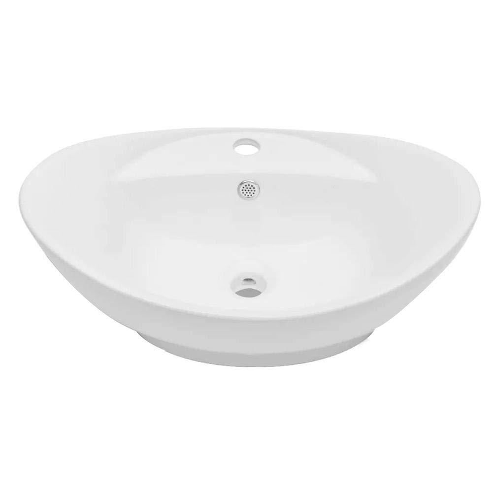 Lavabo Ceramica Ovale con Foro di Scarico e Foro Rubinetto Lavabo da Appoggio Lavello in Ceramica a Forma Ovale Lavandino da Appoggio per Bagno Casa