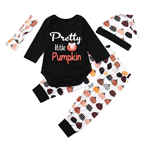 (Halloween Costume Ankola Toddler Infant Baby Girls Boys Letter Print Pretty Little Pumpkin Bodysuit Romper Jumpsuit +Pant+Hat+Headband Outfits Set (12M,)