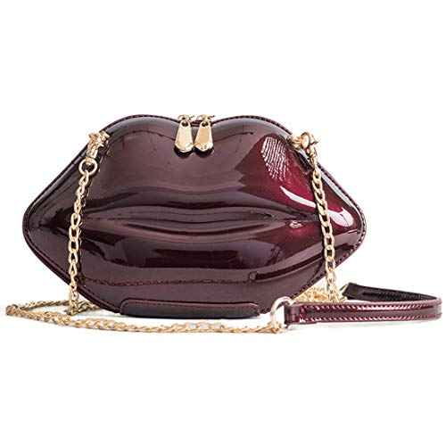 Handbag Evening Purses Bags Banquet Crossbody Vintage Leather Red shaped Women Clutch Lips Wine KNUS t5wPqP