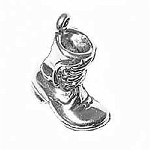 Sterling Silver 30'' Men's 1.5mm Box Chain 3D Work Boot Shoe Pendant Necklace by Auntie's Treasures