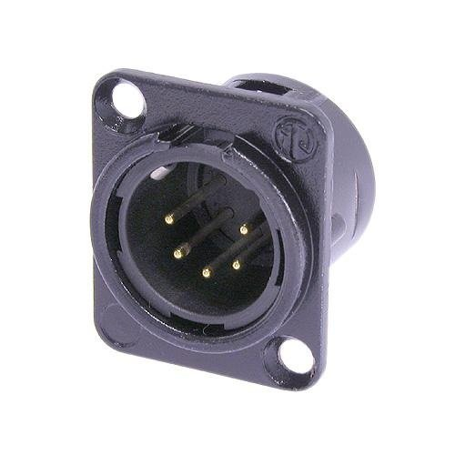 Neutrik NC5MD-L-BAG-1 5-Pole Male Receptacle, Black/Silver Contacts