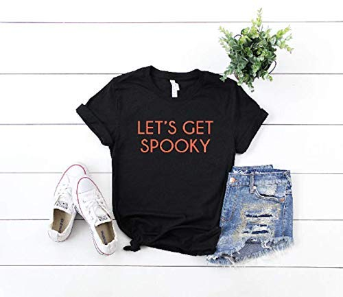 8c24bf9d3 Amazon.com: Lets Get Spooky - Custom Halloween Tops - Trick Or Treat - Cute  Holiday Clothes For Womens - Scary Funny Tees: Handmade