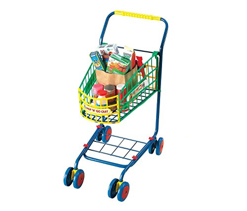 mall World Toys Living Shop N Go Shopping Carts - Metal Frame Cart - Swivel Wheels - Includes Food Boxes, Jars, Shopping Lists, Money and Coupons (10pc Set) (Pack of 3) ()