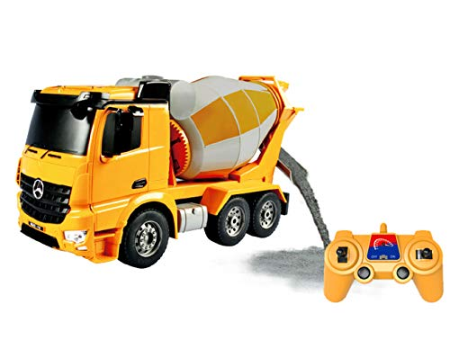 - Bo-Toys Rc Mercedes Benz Actros Cement Mixer Heavy Construction Truck Remote Control 1:26 Lights Sound