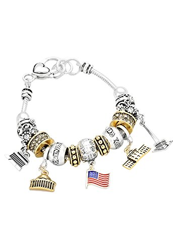 Patriotic Themed Costume Ideas (Rosemarie Collections Women's Washington DC Bead Charm Bracelet (2 Tone))