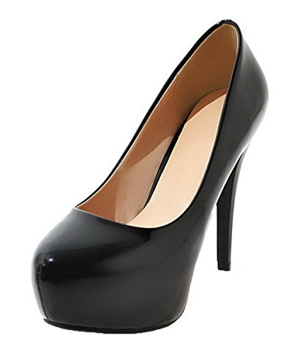On Black Solid High Round Pu Closed Pull Pumps Toe Shoes Heels Women's AmoonyFashion 7zwqt5tp