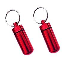 Dovewill 2 Piece Waterproof Mini Pill Box Case Medicine Bottle Holder Container Pill Keychain Key Chain Organizer Case