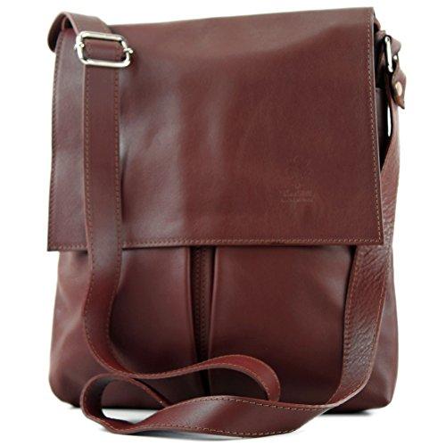 modamoda de ital. Shoulder Messenger bag ladies bag leather large T75 Chestnut Brown