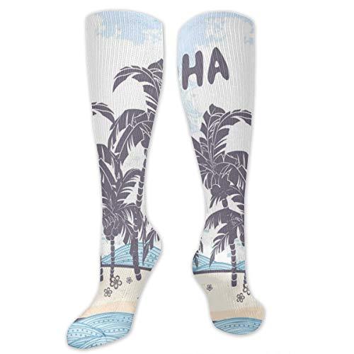 Compression Socks,Cute Illustration Aloha Themed Hawaiian Island Palm Trees -