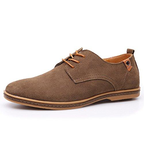qianchuangyuan Chaussures de Ville pour Hommes Neuves Cuir PU à Lacets Bout D'Affaires Oxfords Chaussures Kaki xGpF0mEV