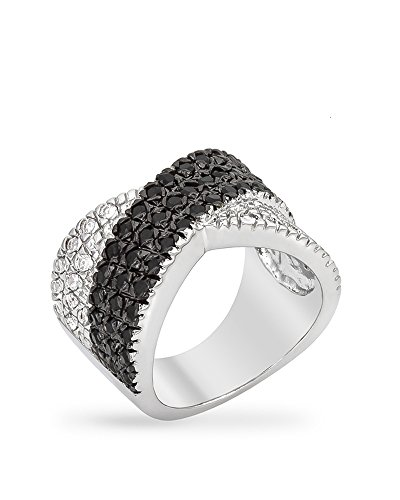 rhodium-plated-ring-featuring-a-crossed-pattern-of-jet-black-and-clear-cz-in-a-pave-setting-size-8