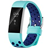For Fitbit Charge 2 HR, Small Band with Breathable Holes, Azure and Navy...