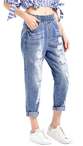 chouyatou Women's Stretchy Waist Loose Fit Destroyed Hole Taper Cuffed Denim Capri Jean Pant (Large, Blue) Cuffed Denim Capris Denim