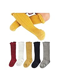 Xugq66 5 Pairs Newborn Baby Toddlers Cable Knit Knee High Socks for Boy and Girls