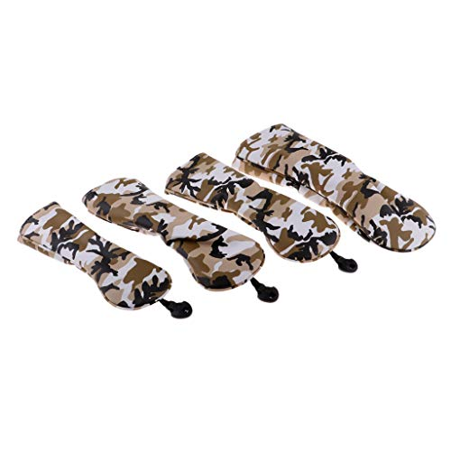 Deluxe Golf Cap - Prettyia Pack of 4 Waterproof Deluxe PU Golf Head Protective Covers - Camo Pattern No. 1 3 5 UT Wood Driver Headcovers Set & Interchangeable No. Tag - Camo Brown, as described
