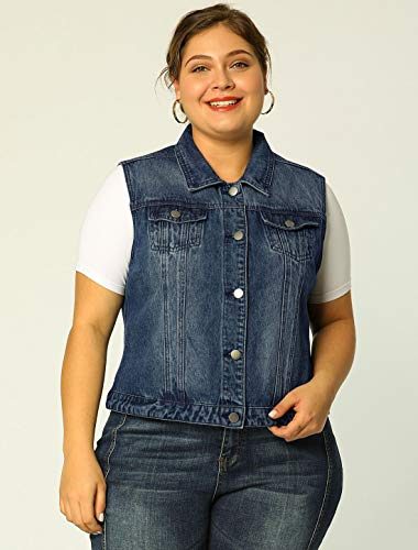 uxcell/® Womens Plus Size Single Breasted Denim Vest with Two Flap Chest Pockets