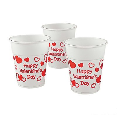 Valentine Disposable Plastic Cups 2 units