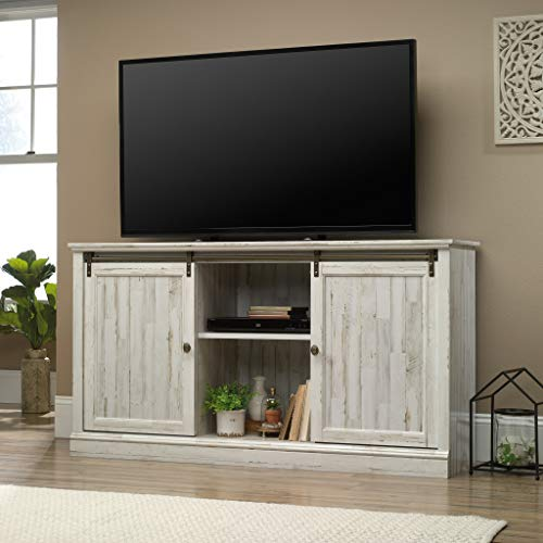 Sauder 423674 Barrister Lane 60'' Sliding Door Entertainment Credenza, White Plank Finish by Sauder (Image #2)