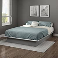 South Shore Basics Full Platform Bed with Molding, 54 (Soft Gray)